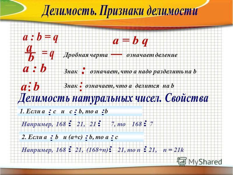 Знак означает, что а делится на b Знак означает, что а надо разделить на b Дробная черта означает деление Например, 168 21, 21 7, то 168 7 1. Если а с и c b, то a b 2. Если а b и (a+c) b, то a c Например, 168 21, (168+n) 21, то n 21, п = 21k