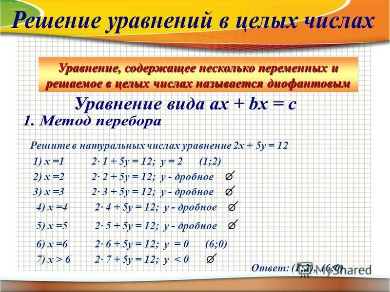 Уравнение, содержащее несколько переменных и решаемое в целых числах называется диофантовым Решите в натуральных числах уравнение 2 х + 5 у = 12 1) х =12· 1 + 5 у = 12; у = 2(1;2) 2) х =22· 2 + 5 у = 12; у - дробное 3) х =32· 3 + 5 у = 12; у - дробно