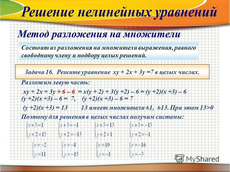 Состоит из разложения на множители выражения, равного свободному члену и подбору целых решений. Задача 16. Решите уравнение ху + 2 х + 3 у =7 в целых числах. Разложим левую часть: + 6 – 6 ху + 2 х + 3 у + 6 – 6 = х(у + 2) + 3(у +2) – 6 = (у +2)(х +3)