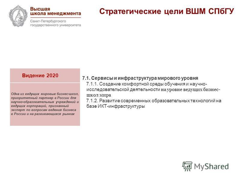 Стратегические цели ВШМ СПбГУ Видение 2020 Одна из ведущих мировых бизнес-школ, приоритетный партнер в России для научно-образовательных учреждений и ведущих корпораций, признанный эксперт по вопросам ведения бизнеса в России и на развивающихся рынка