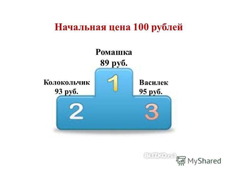 Начальная цена 100 рублей Ромашка 89 руб. Колокольчик 93 руб. Василек 95 руб.