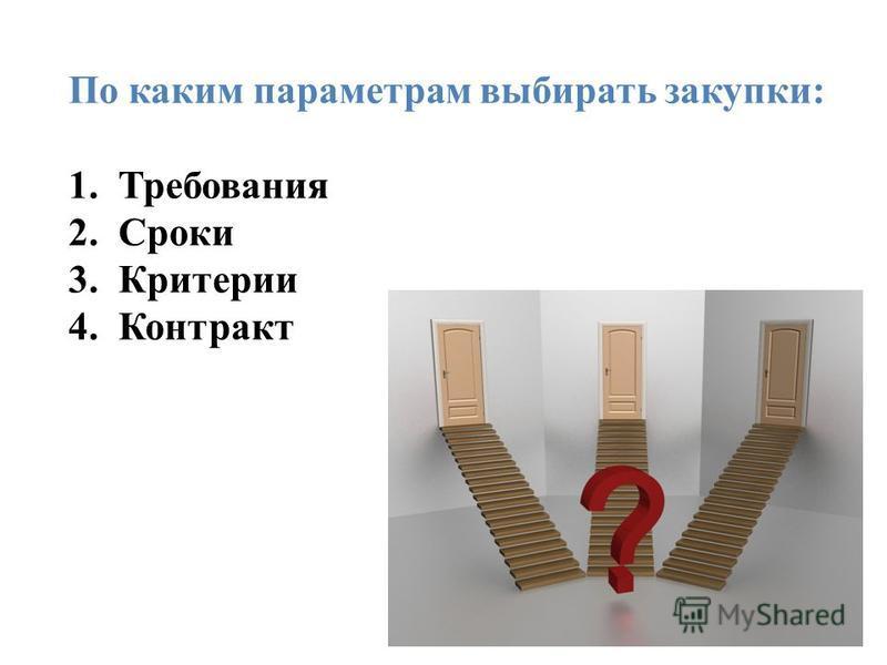 По каким параметрам выбирать закупки: 1. Требования 2. Сроки 3. Критерии 4.Контракт