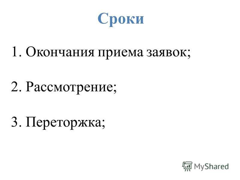Сроки 1. Окончания приема заявок; 2. Рассмотрение; 3. Переторжка;