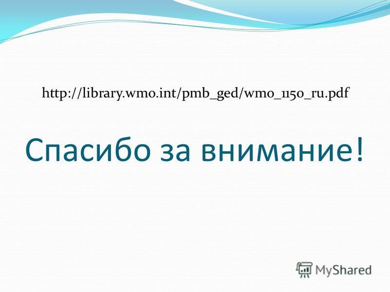 Спасибо за внимание! http://library.wmo.int/pmb_ged/wmo_1150_ru.pdf
