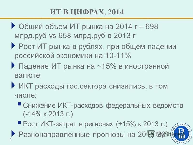 ИТ В ЦИФРАХ, 2014 Общий объем ИТ рынка на 2014 г – 698 млрд.руб vs 658 млрд.руб в 2013 г Рост ИТ рынка в рублях, при общем падении российской экономики на 10-11% Падение ИТ рынка на ~15% в иностранной валюте ИКТ расходы гос.сектора снизились, в том ч