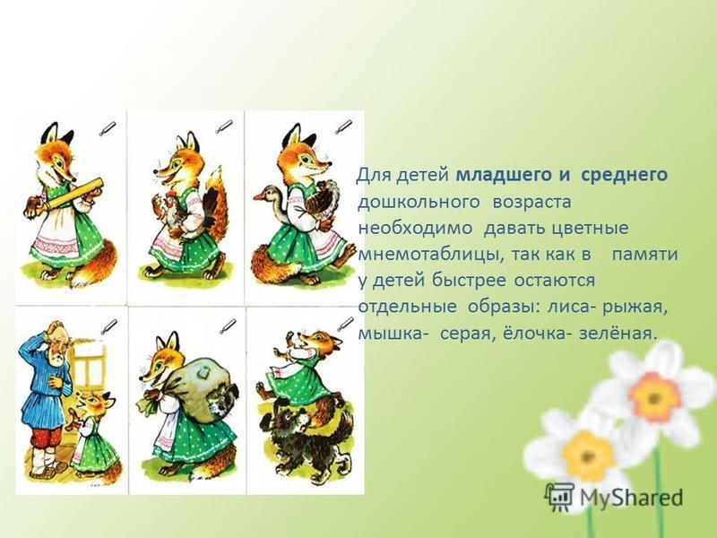 Для детей младшего и среднего дошкольного возраста необходимо давать цветные мнемотаблицы, так как в памяти у детей быстрее остаются отдельные образы: лиса- рыжая, мышка- серая, ёлочка- зелёная.