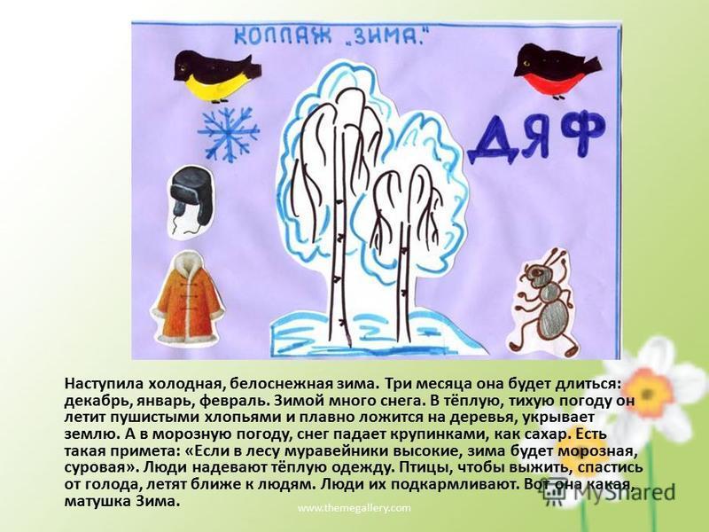 www.themegallery.com Наступила холодная, белоснежная зима. Три месяца она будет длиться: декабрь, январь, февраль. Зимой много снега. В тёплую, тихую погоду он летит пушистыми хлопьями и плавно ложится на деревья, укрывает землю. А в морозную погоду,