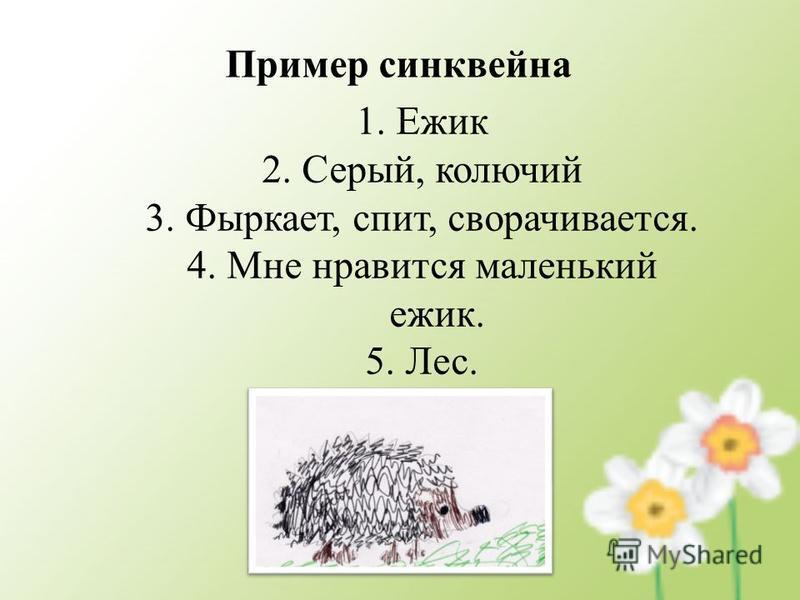 Пример синквейна 1. Ежик 2. Серый, колючий 3. Фыркает, спит, сворачивается. 4. Мне нравится маленький ежик. 5. Лес.