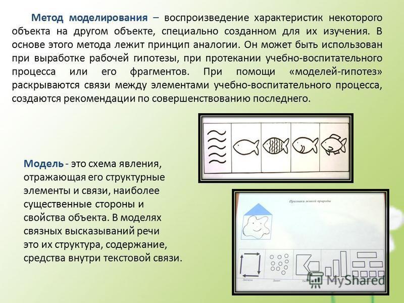 Метод моделирования – воспроизведение характеристик некоторого объекта на другом объекте, специально созданном для их изучения. В основе этого метода лежит принцип аналогии. Он может быть использован при выработке рабочей гипотезы, при протекании уче