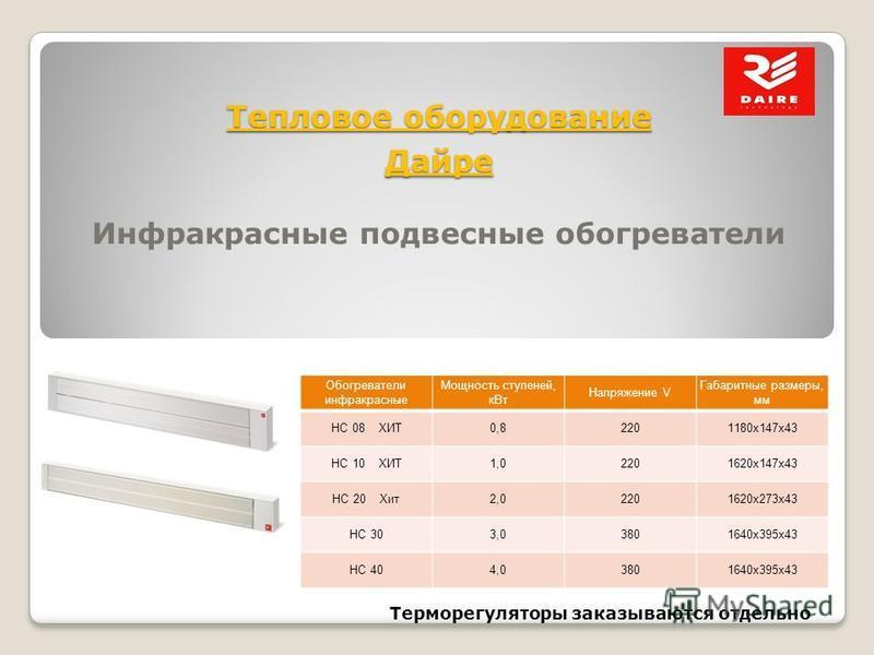 Тепловое оборудование Дайре Инфракрасные подвесные обогреватели Терморегуляторы заказываются отдельно Обогреватели инфракрасные Мощность ступеней, к Вт Напряжение V Габаритные размеры, мм HC 08 ХИТ0,82201180x147x43 HC 10 ХИТ1,02201620x147x43 HC 20 Хи