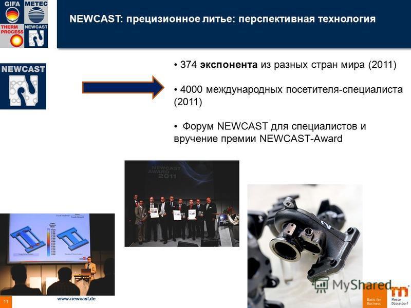 NEWCAST: прецизионное литье: перспективная технология 04.12.2015 www.newcast,de 11 374 экспонента из разных стран мира (2011) 4000 международных посетителя-специалиста (2011) Форум NEWCAST для специалистов и вручение премии NEWCAST-Award