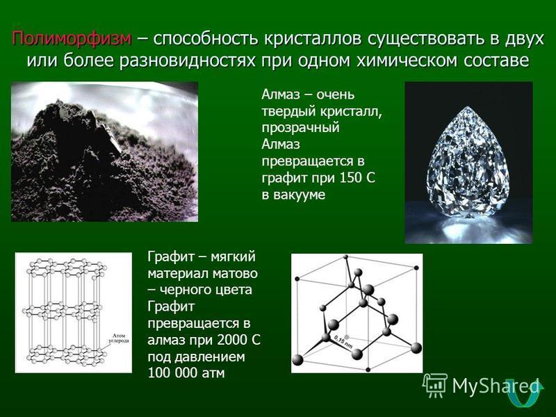 Полиморфизм – способность кристаллов существовать в двух или более разновидностях при одном химическом составе Графит – мягкий материал матово – черного цвета Графит превращается в алмаз при 2000 С под давлением 100 000 атм Алмаз – очень твердый крис