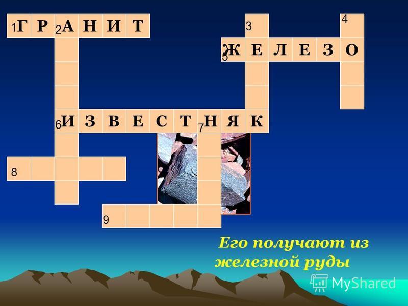 1Г1Г АН И ЗВЕСТ НЯК Е ЖЕЛОЗ Его получают из железной руды ИТР 9 8 3 4 7 5 6 2