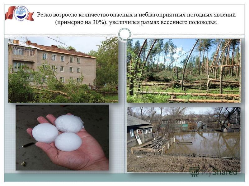 Резко возросло количество опасных и неблагоприятных погодных явлений (примерно на 30%), увеличился размах весеннего половодья.