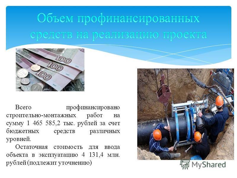 Всего профинансировано строительно-монтажных работ на сумму 1 465 585,2 тыс. рублей за счет бюджетных средств различных уровней. Остаточная стоимость для ввода объекта в эксплуатацию 4 131,4 млн. рублей (подлежит уточнению)