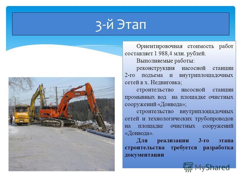 3-й Этап Ориентировочная стоимость работ составляет 1 988,4 млн. рублей. Выполняемые работы: реконструкция насосной станции 2-го подъема и внутриплощадочных сетей в х. Недвиговка; строительство насосной станции промывных вод на площадке очистных соор