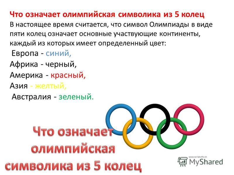 Что означает олимпийская символика из 5 колец В настоящее время считается, что символ Олимпиады в виде пяти колец означает основные участвующие континенты, каждый из которых имеет определенный цвет: Европа - синий, Африка - черный, Америка - красный,