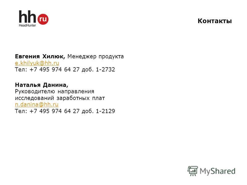 Контакты Евгения Хилюк, Менеджер продукта e.khilyuk@hh.ru Тел: +7 495 974 64 27 доб. 1-2732 Наталья Данина, Руководителю направления исследований заработных плат n.danina@hh.ru Тел: +7 495 974 64 27 доб. 1-2129