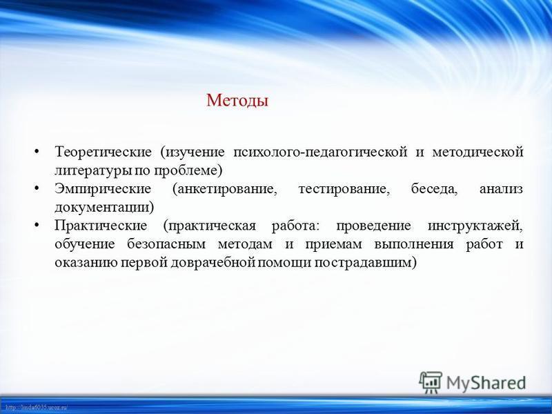 http://linda6035.ucoz.ru/ Методы Теоретические (изучение психолого-педагогической и методической литературы по проблеме) Эмпирические (анкетирование, тестирование, беседа, анализ документации) Практические (практическая работа: проведение инструктаже
