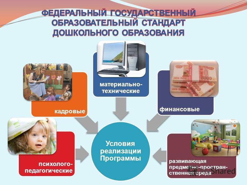 Условия реализации Программы развивающая предметно-пространственная среда финансовые материально- технические кадровые психолого- педагогические