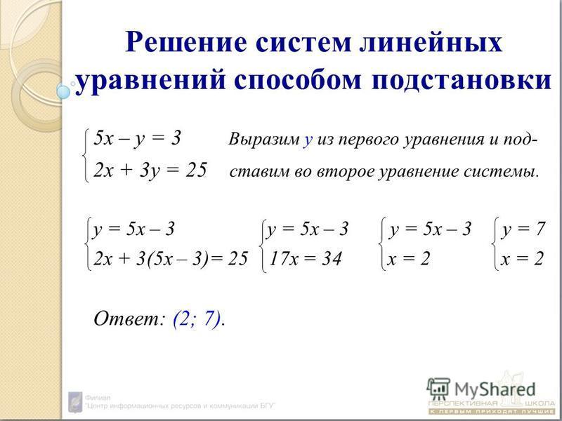 Решение систем линейных уравнений способом подстановки 5 х – у = 3 Выразим у из первого уравнения и под- 2 х + 3 у = 25 ставим во второе уравнение системы. у = 5 х – 3 у = 5 х – 3 у = 5 х – 3 у = 7 2 х + 3(5 х – 3)= 25 17 х = 34 х = 2 х = 2 Ответ: (2