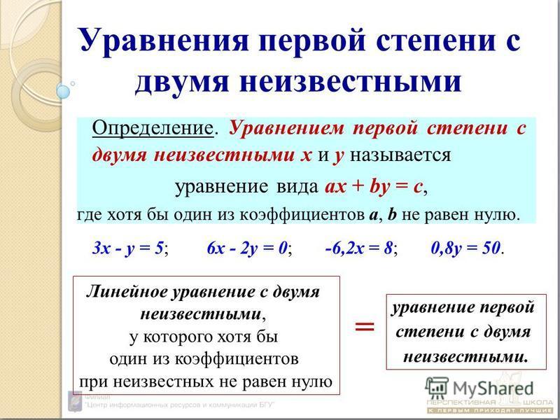 Уравнения первой степени с двумя неизвестными Определение. Уравнением первой степени с двумя неизвестными х и у называется уравнение вида ах + by = c, где хотя бы один из коэффициентов а, b не равен нулю. 3 х - у = 5; 6 х - 2 у = 0; -6,2 х = 8; 0,8 у