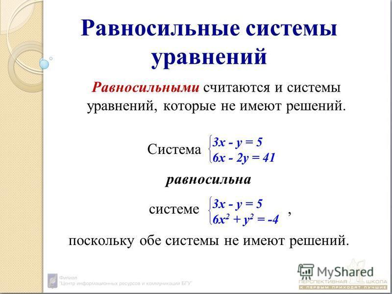 Равносильные системы уравнений Равносильными считаются и системы уравнений, которые не имеют решений. Система равносильна системе, поскольку обе системы не имеют решений. 3 х - у = 5 6 х - 2 у = 41 3 х - у = 5 6 х 2 + у 2 = -4