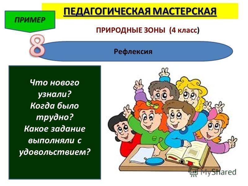 ПЕДАГОГИЧЕСКАЯ МАСТЕРСКАЯ ПРИМЕР ПРИРОДНЫЕ ЗОНЫ (4 класс) Рефлексия Что нового узнали? Когда было трудно? Какое задание выполняли с удовольствием?