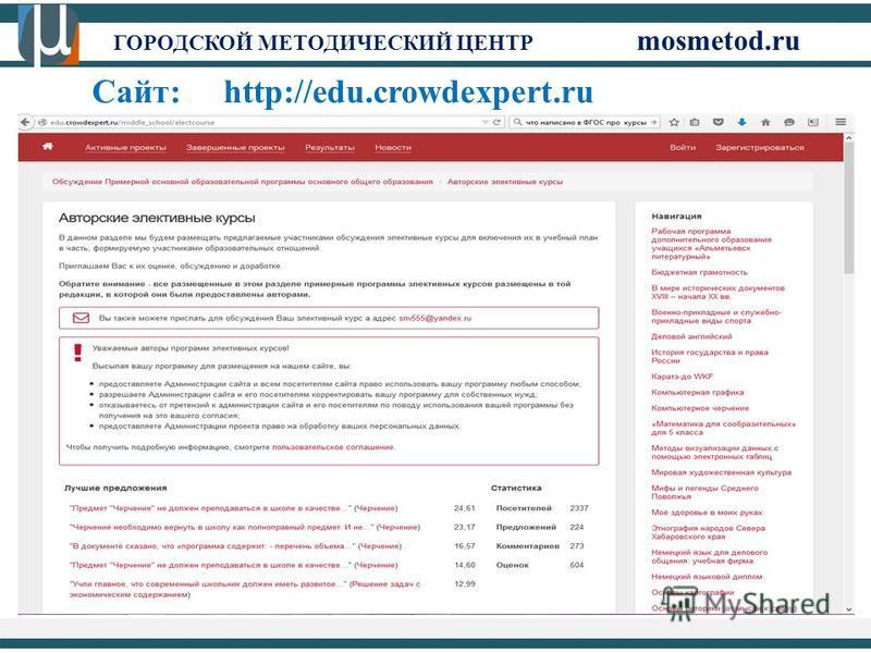 ГОРОДСКОЙ МЕТОДИЧЕСКИЙ ЦЕНТР mosmetod.ru Сайт: http://edu.crowdexpert.ru