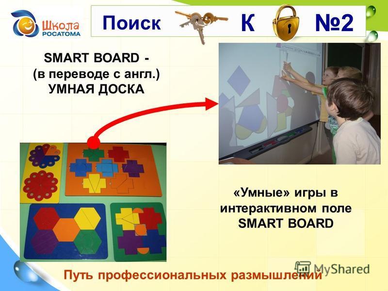 SMART BOARD - (в переводе с англ.) УМНАЯ ДОСКА Путь профессиональных размышлений «Умные» игры в интерактивном поле SMART BOARD К 2 Поиск
