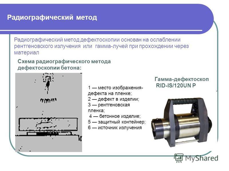 Радиографический метод Гамма-дефектоскоп RID-IS/120UN Р Радиографический метод дефектоскопии основан на ослаблении рентгеновского излучения или гамма-лучей при прохождении через материал Схема радиографического метода дефектоскопии бетона: 1 место из