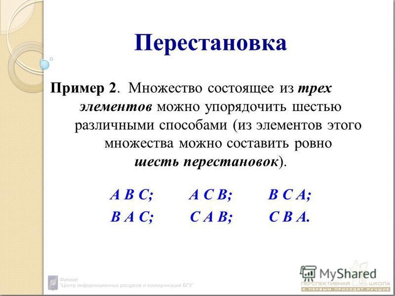 Перестановка Пример 2. Множество состоящее из трех элементов можно упорядочить шестью различными способами (из элементов этого множества можно составить ровно шесть перестановок). А В С;А С В;В С А; В А С; С А В; С В А.