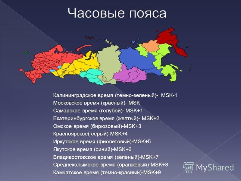 Калининградское время (темно-зеленый)- MSK-1 Московское время (красный)- MSK Самарское время (голубой)- MSK+1 Екатеринбургское время (желтый)- MSK+2 Омское время (бирюзовый)-MSK+3 Красноярское( серый)-MSK+4 Иркутское время (фиолетовый)-MSK+5 Якутское