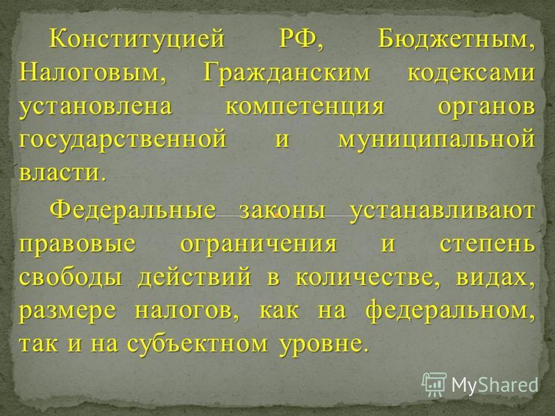 Конституцией РФ, Бюджетным, Налоговым, Гражданским кодексами установлена компетенция органов государственной и муниципальной власти. Конституцией РФ, Бюджетным, Налоговым, Гражданским кодексами установлена компетенция органов государственной и муници