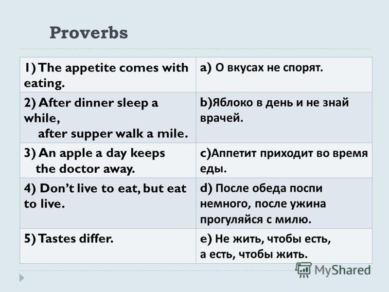 Proverbs 1) The appetite comes with eating. a) О вкусах не спорят. 2) After dinner sleep a while, after supper walk a mile. b) Яблоко в день и не знай врачей. 3) An apple a day keeps the doctor away. c) Аппетит приходит во время еды. 4) Dont live to