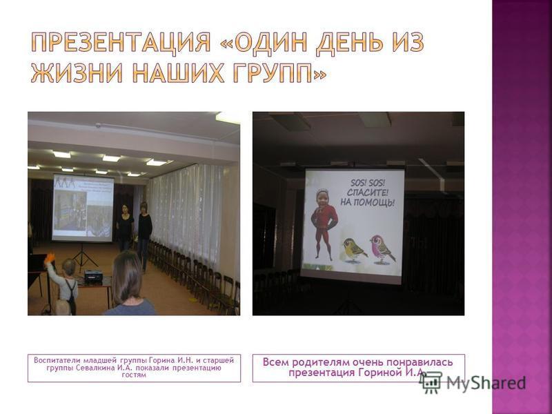 Воспитатели младшей группы Горина И.Н. и старшей группы Севалкина И.А. показали презентацию гостям Всем родителям очень понравилась презентация Гориной И.А.