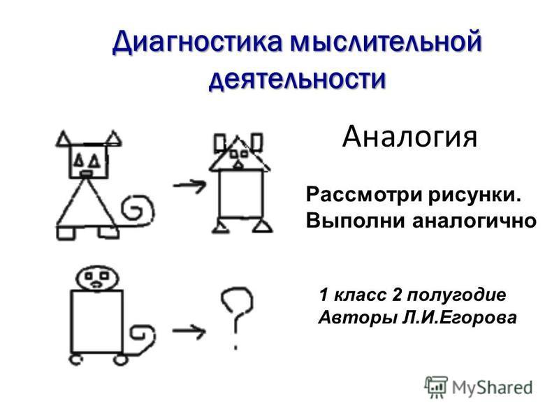 Рассмотри рисунки. Выполни аналогично 1 класс 2 полугодие Авторы Л.И.Егорова Аналогия Диагностика мыслительной деятельности