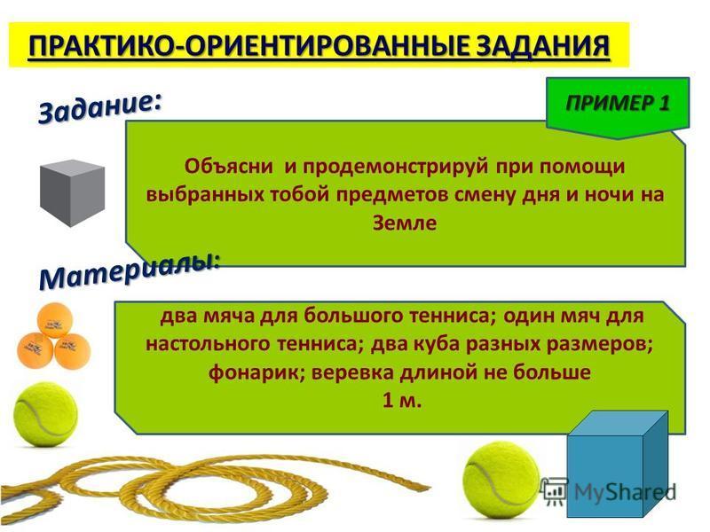 ПРАКТИКО-ОРИЕНТИРОВАННЫЕ ЗАДАНИЯ Объясни и продемонстрируй при помощи выбранных тобой предметов смену дня и ночи на Земле два мяча для большого тенниса; один мяч для настольного тенниса; два куба разных размеров; фонарик; веревка длиной не больше 1 м