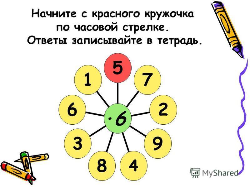 Начните с красного кружочка по часовой стрелке. Ответы записывайте в тетрадь. ·6·6572948361