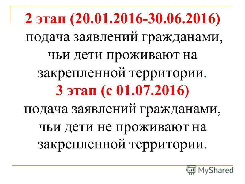 2 этап (20.01.2016-30.06.2016) подача заявлений гражданами, чьи дети проживают на закрепленной территории. 3 этап (с 01.07.2016) подача заявлений гражданами, чьи дети не проживают на закрепленной территории.