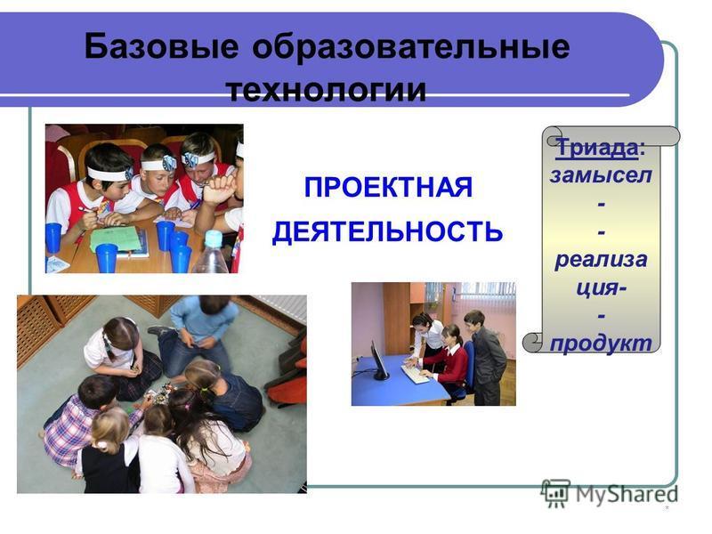 * ПРОЕКТНАЯ ДЕЯТЕЛЬНОСТЬ Триада: замысел - - реализа ция- - продукт Базовые образовательные технологии