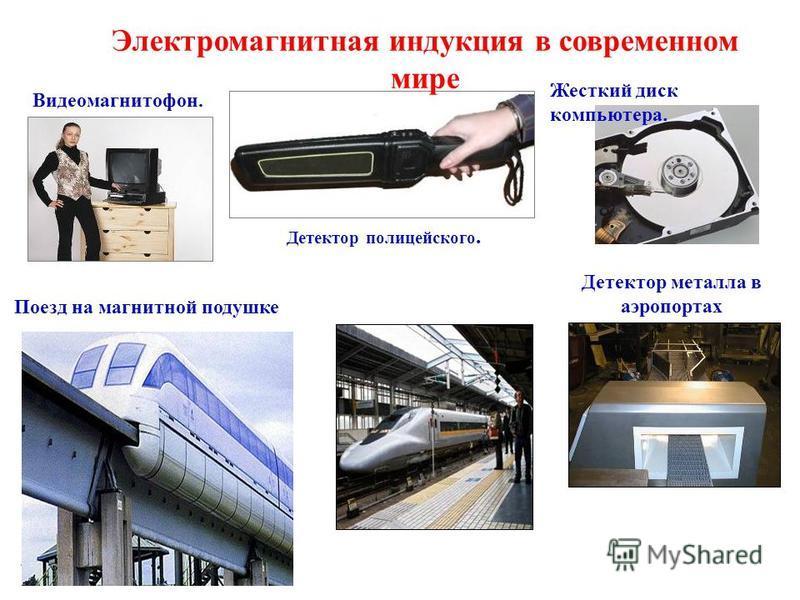 Видеомагнитофон. Жесткий диск компьютера. Детектор полицейского. Детектор металла в аэропортах Поезд на магнитной подушке Электромагнитная индукция в современном мире