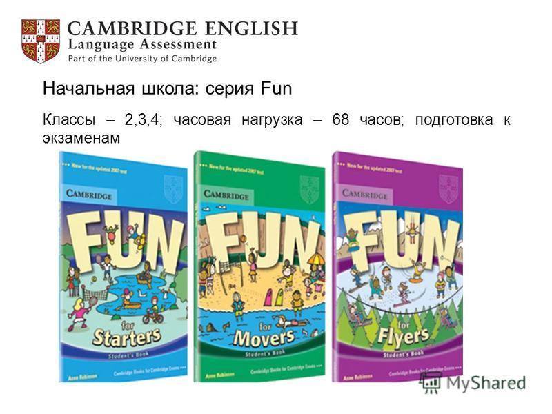 Начальная школа: серия Fun Классы – 2,3,4; часовая нагрузка – 68 часов; подготовка к экзаменам