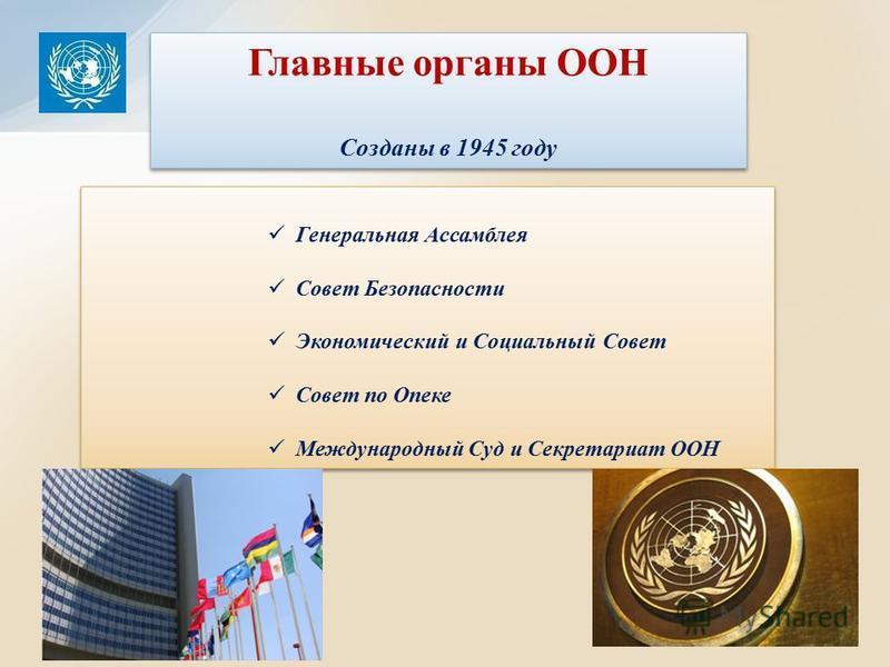 Генеральная Ассамблея Совет Безопасности Экономический и Социальный Совет Совет по Опеке Международный Суд и Секретариат ООН Генеральная Ассамблея Совет Безопасности Экономический и Социальный Совет Совет по Опеке Международный Суд и Секретариат ООН