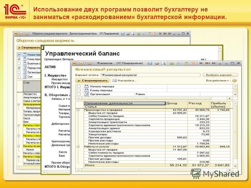 Использование двух программ позволит бухгалтеру не заниматься «раскодированием» бухгалтерской информации.
