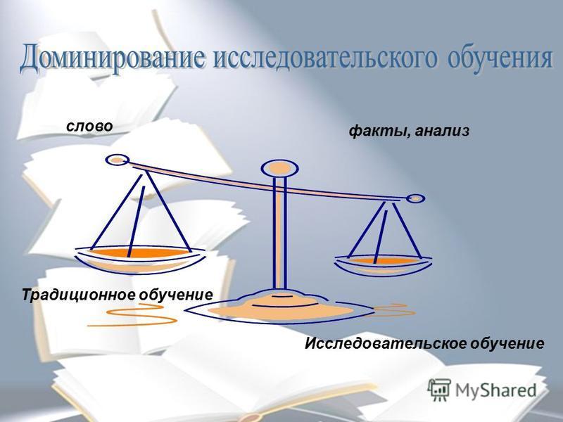 слово факты, анализ Исследовательское обучение Традиционное обучение