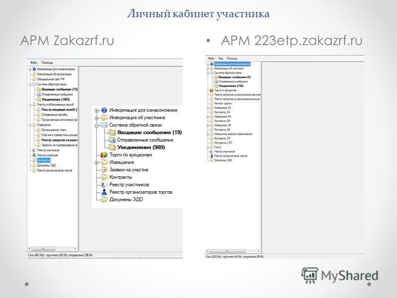 Личный кабинет участника АРМ 223etp.zakazrf.ruАРМ Zakazrf.ru