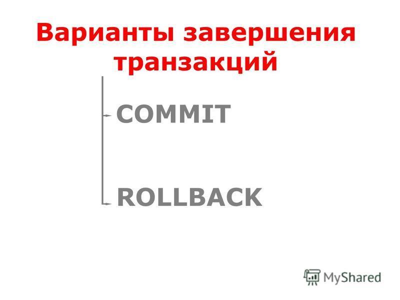 Варианты завершения транзакций COMMIT ROLLBACK