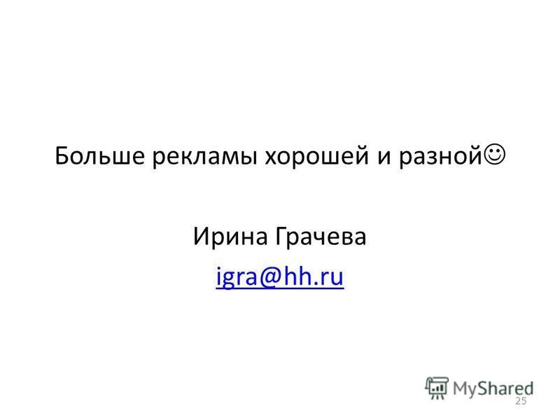 Больше рекламы хорошей и разной Ирина Грачева igra@hh.ru 25