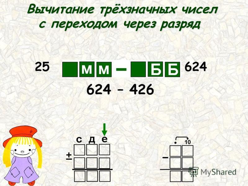 25 52 426 624 624 – 426 Вычитание трёхзначных чисел с переходом через разряд